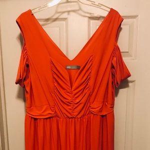Orange cold shoulder dress (Asos Curve)